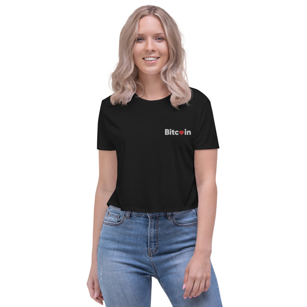 Bitcoin x LOVE Women's Crop Tee - Buy Products with Cryptocurrency