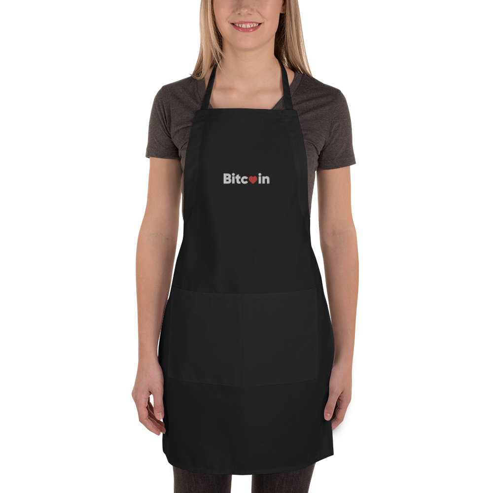 Bitcoin x LOVE Embroidered Apron - Buy Products with Cryptocurrency