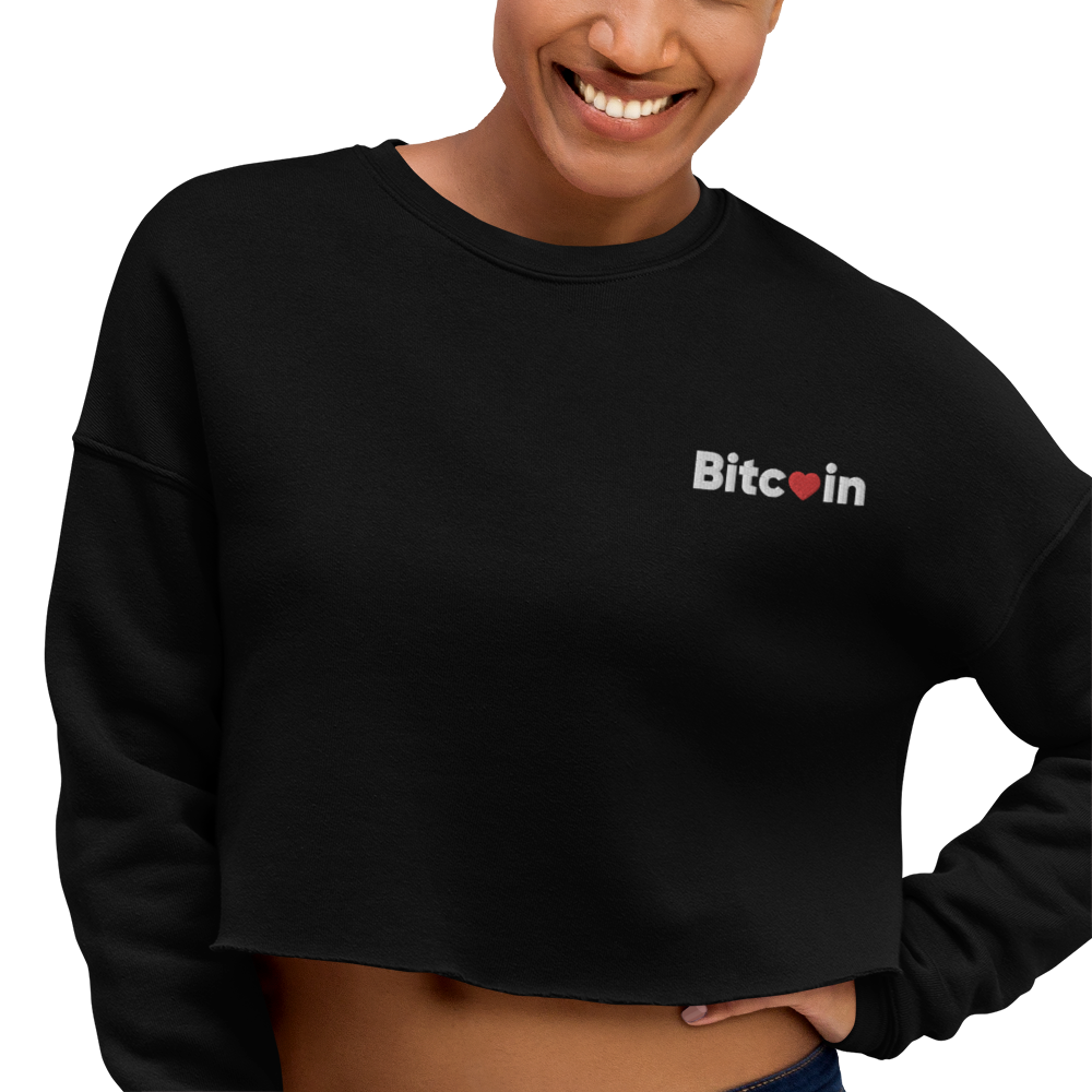 Bitcoin x LOVE Crop Sweatshirt - Buy Products with Cryptocurrency