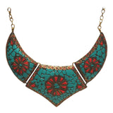 Brass Necklace with inlay work - Exquisite Shop - 4