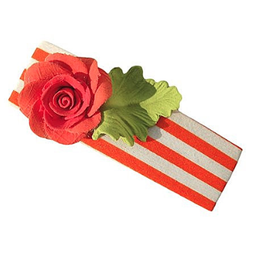 Finefingrs Flower Hair Clip - Orange Flower - Orange White Stripes - Exquisite Shop