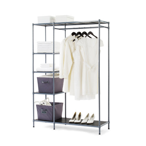 Freestanding Storage Closet With 5 Adjustable Shelves