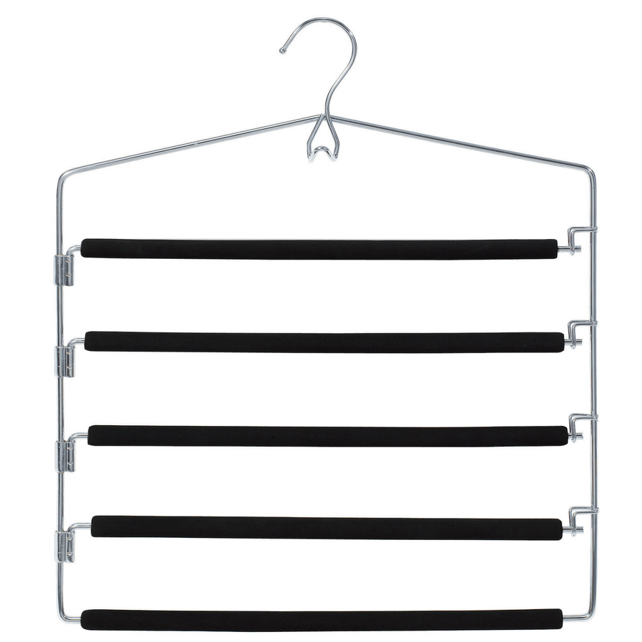 chrome tier pant hangers, 5 tier to hang upto hang 5 pants, slacks, trousers, metal pant hangers with non slip foam to prevent pants to slip