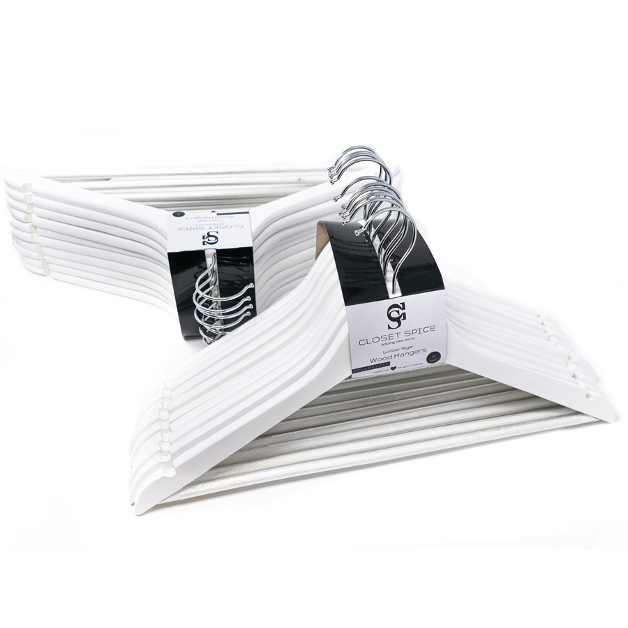 white wooden hangers, set of 40 solid white clothes wood hangers