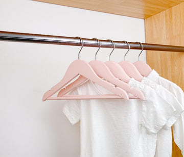 Kids Wood Hangers - Set of 20 (Pink)