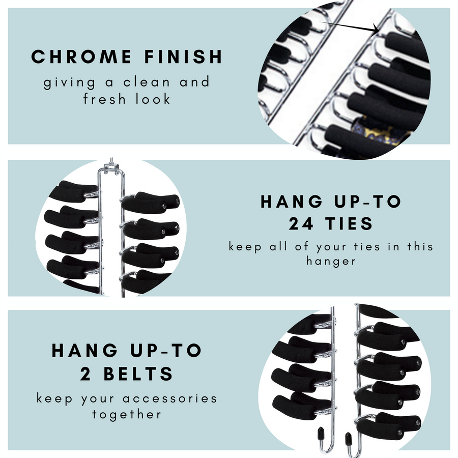 chrome tie hangers, tie hangers with 24 non slip pegs to hang 24 ties with extra  2 hooks for belt and other accessories