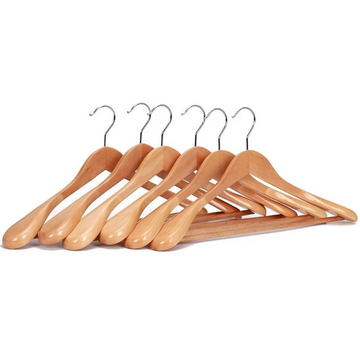 natural wooden wide shoulder suit hanger, extra wide shoulder natural coat hangers