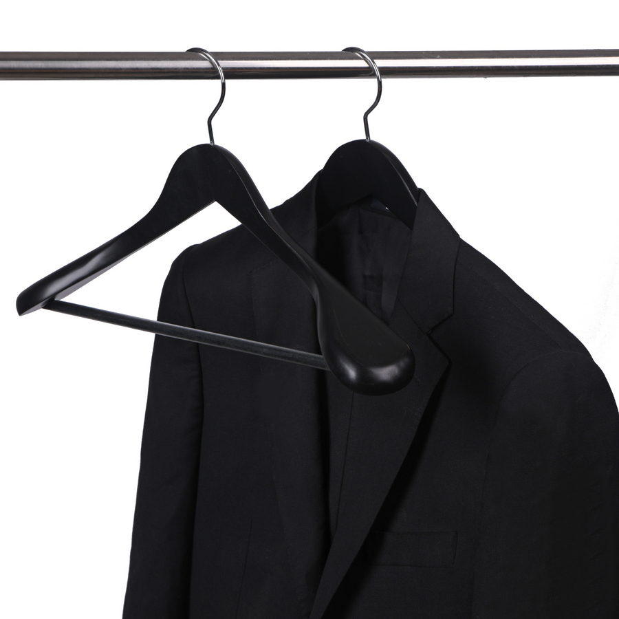 black wooden wide shoulder suit hanger, extra wide shoulder black coat hangers