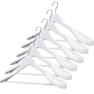 white wooden wide shoulder suit hanger, extra wide shoulder white coat hangers