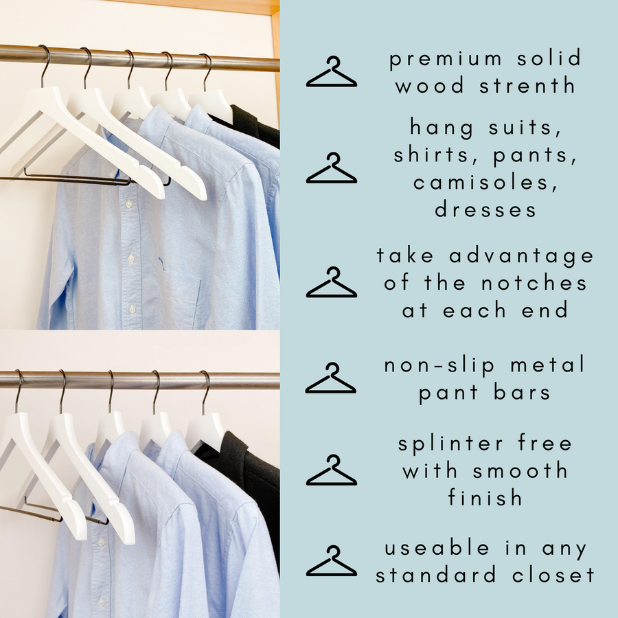 white shirts hung on a modern white wooden hangers with black chrome non slip pant bar and black chrome 360 degree hook, minimalist capsule wardrobe design with white hangers with black chrome hardware.