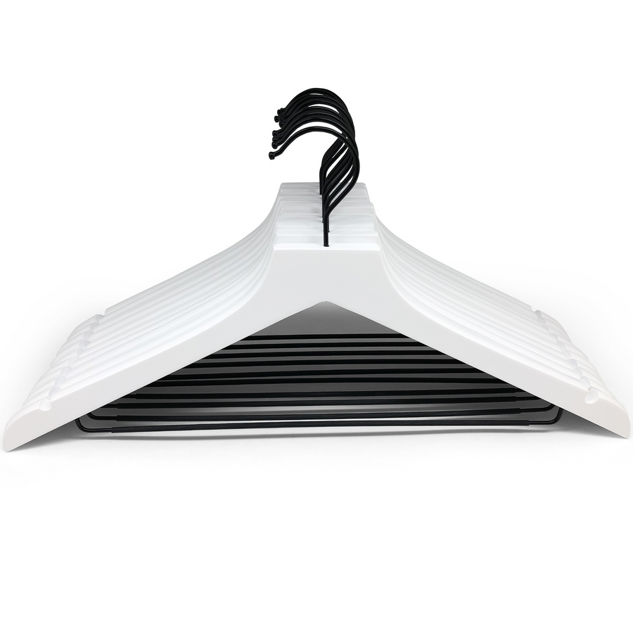 modern white wooden hangers with black chrome non slip pant bar and black chrome 360 degree hook, minimalist design white hangers with black chrome hardware.