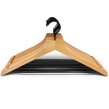 modern natural wooden hangers with black chrome non slip pant bar and black chrome 360 degree hook, minimalist design natural hangers with black chrome hardware.