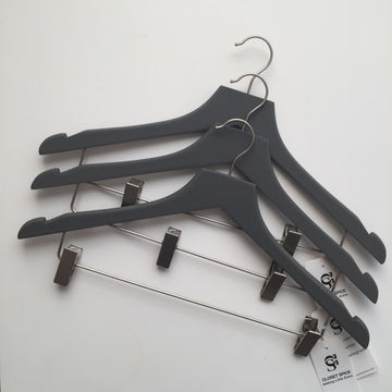 Rubber Felt Wood Suit Hangers with Clips - Set of 6 (Grey)