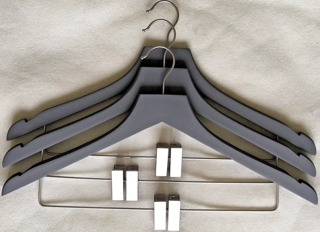 Closet Spice Rubber Felt Wood Suit Hangers with Clips - Set of 6 (Grey)