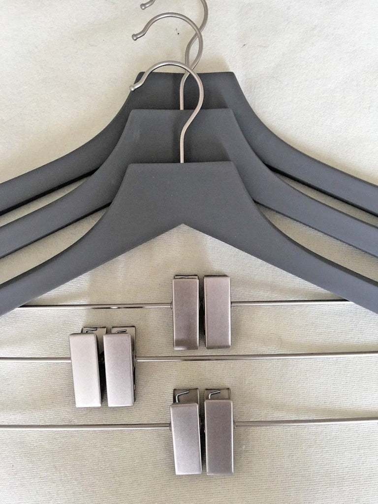 Closet Spice Rubber Felt Wood Suit Hangers with Clips - Set of 3 (Gray)