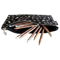 Music Notes Pencil Case, Rectangular - Black with White Symbols