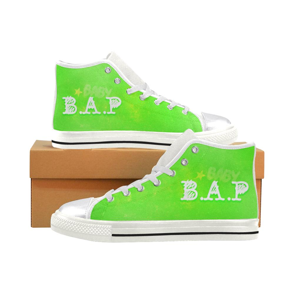 "B.A.P ""NEBULA"" HIGH-TOP WHITE Canvas Shoes - MYKPOPMART"