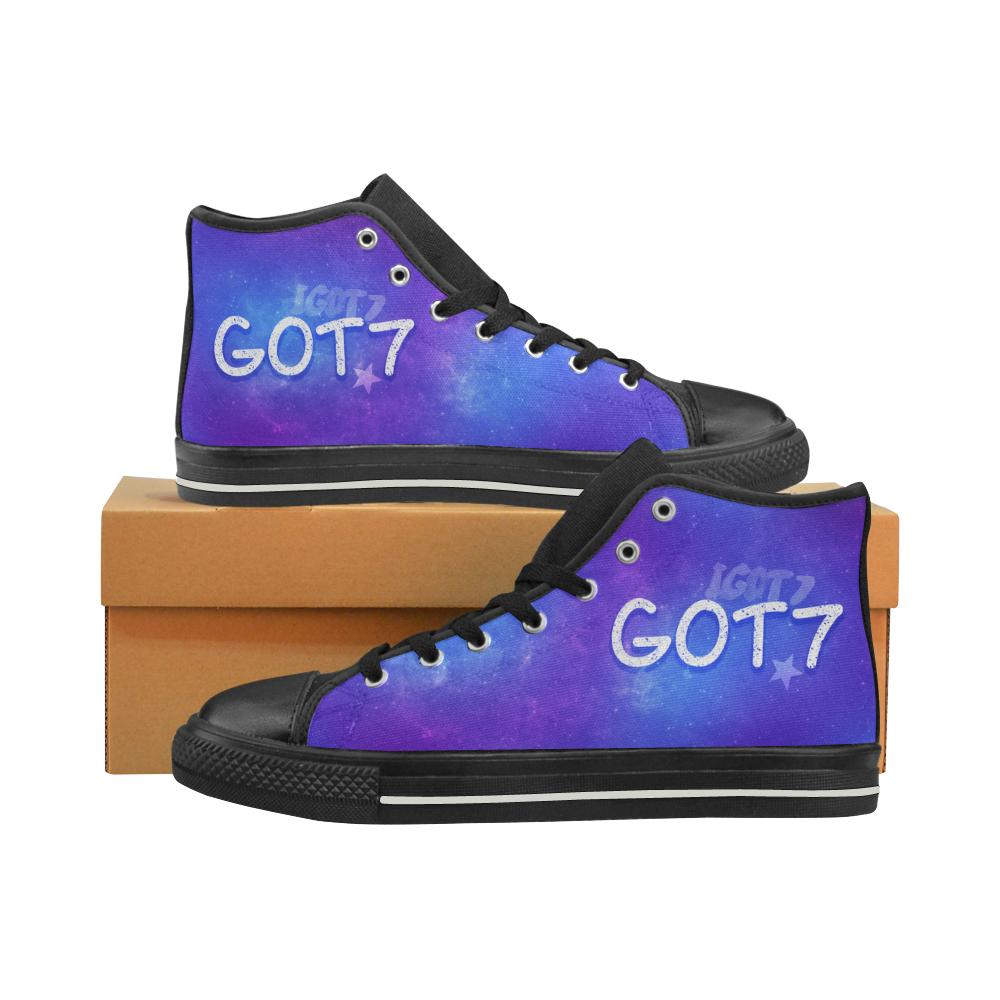 "GOT7 ""NEBULA"" HIGH-TOP BLACK Canvas Shoes - MYKPOPMART"