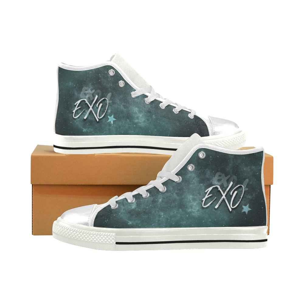 "EXO ""NEBULA"" HIGH-TOP WHITE Canvas Shoes - MYKPOPMART"