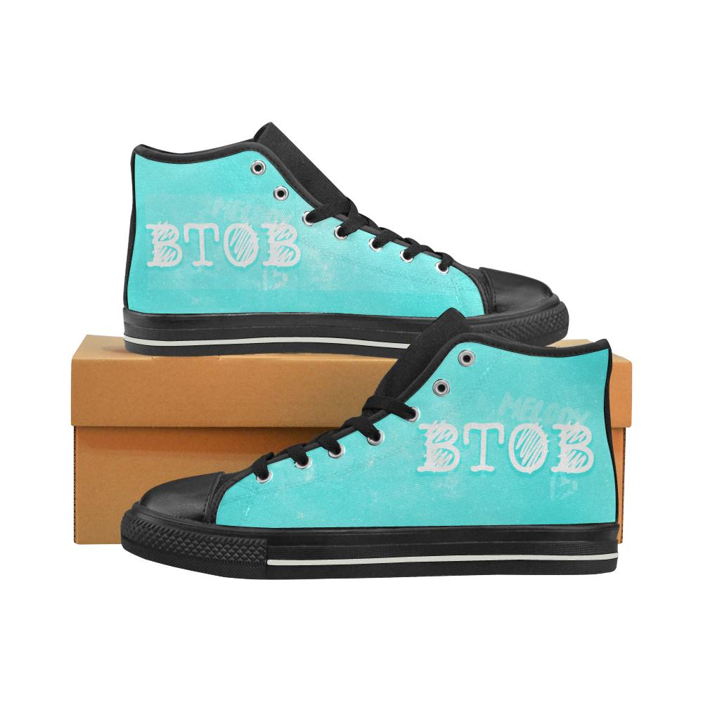"BtoB ""NEBULA"" HIGH-TOP BLACK Canvas Shoes - MYKPOPMART"
