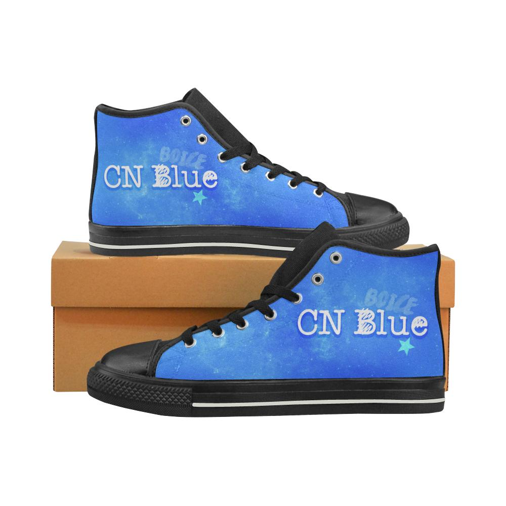 "CNBLUE ""NEBULA"" HIGH-TOP BLACK Canvas Shoes - MYKPOPMART"