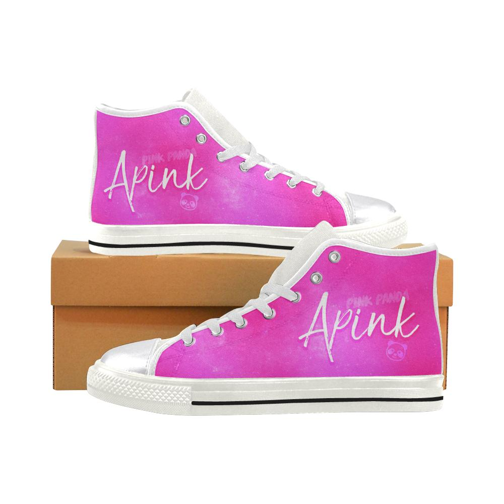 "APINK ""NEBULA"" HIGH-TOP WHITE Canvas Shoes - MYKPOPMART"