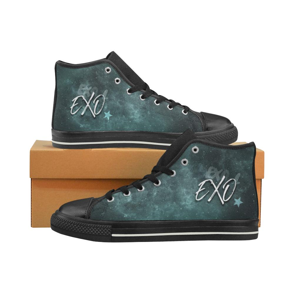"EXO ""NEBULA"" HIGH-TOP BLACK Canvas Shoes - MYKPOPMART"