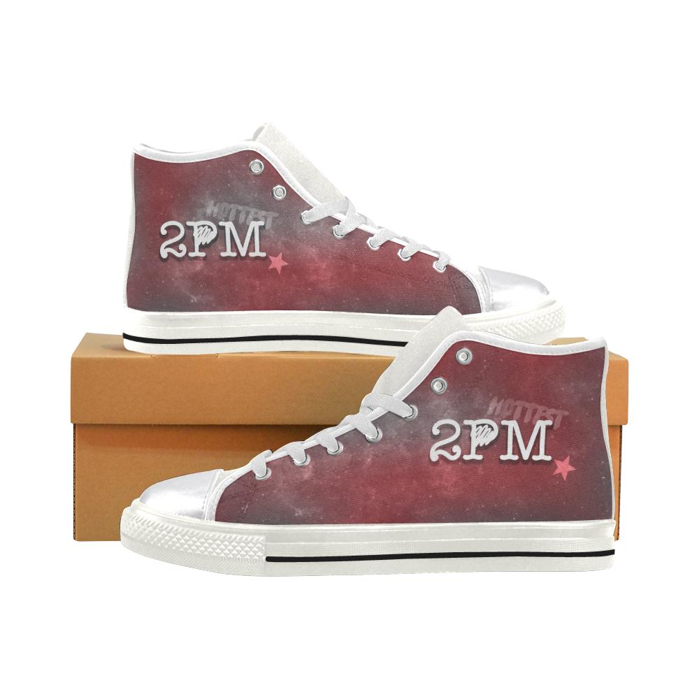 "2PM ""NEBULA"" HIGH-TOP WHITE Canvas Shoes - MYKPOPMART"