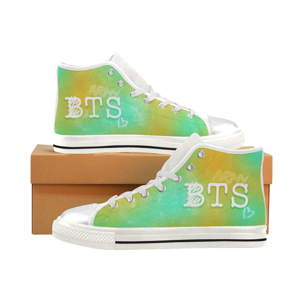 "BTS ""NEBULA"" HIGH-TOP WHITE Canvas Shoes - MYKPOPMART"