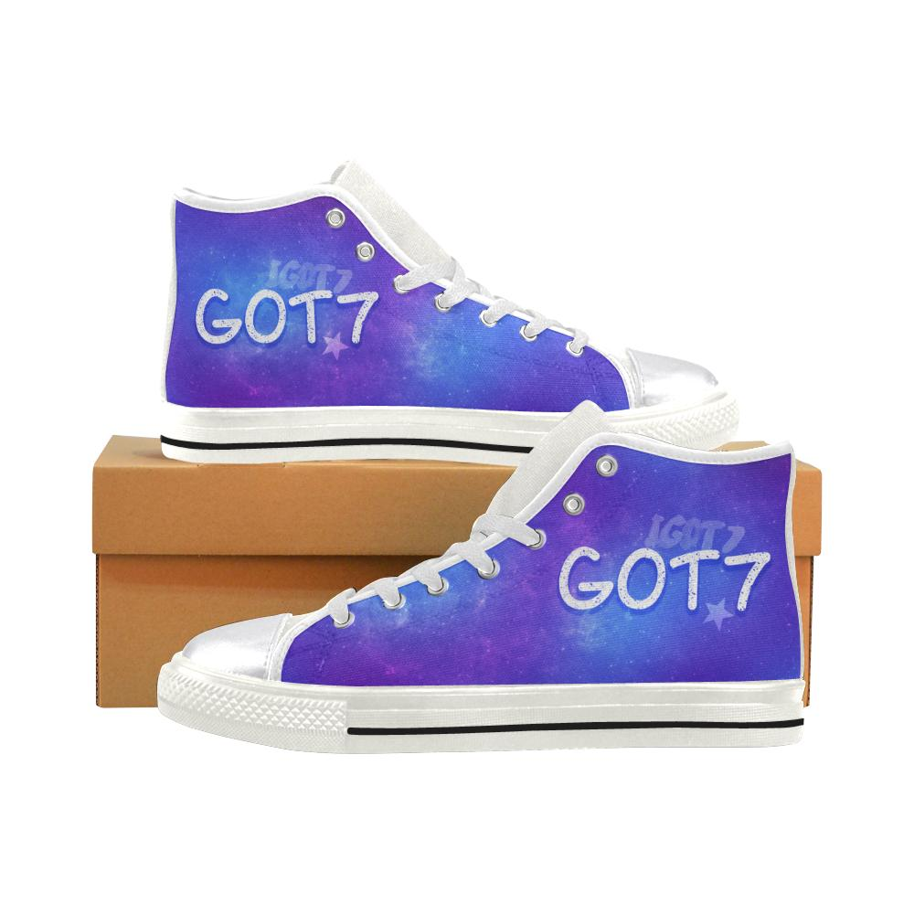 "GOT7 ""NEBULA"" HIGH-TOP WHITE Canvas Shoes - MYKPOPMART"
