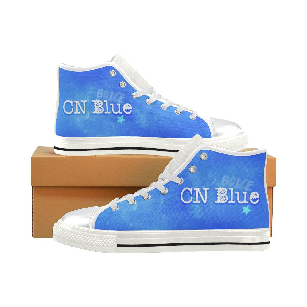"CNBLUE ""NEBULA"" HIGH-TOP WHITE Canvas Shoes - MYKPOPMART"