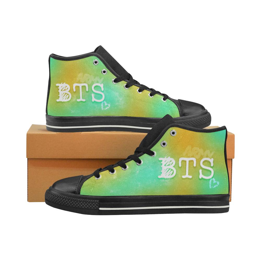 "BTS ""NEBULA"" HIGH-TOP BLACK Canvas Shoes - MYKPOPMART"