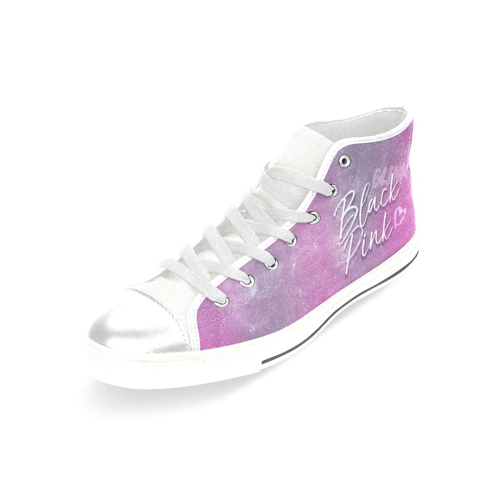"BLACKPINK ""NEBULA"" HIGH-TOP WHITE Canvas Shoes - MYKPOPMART"
