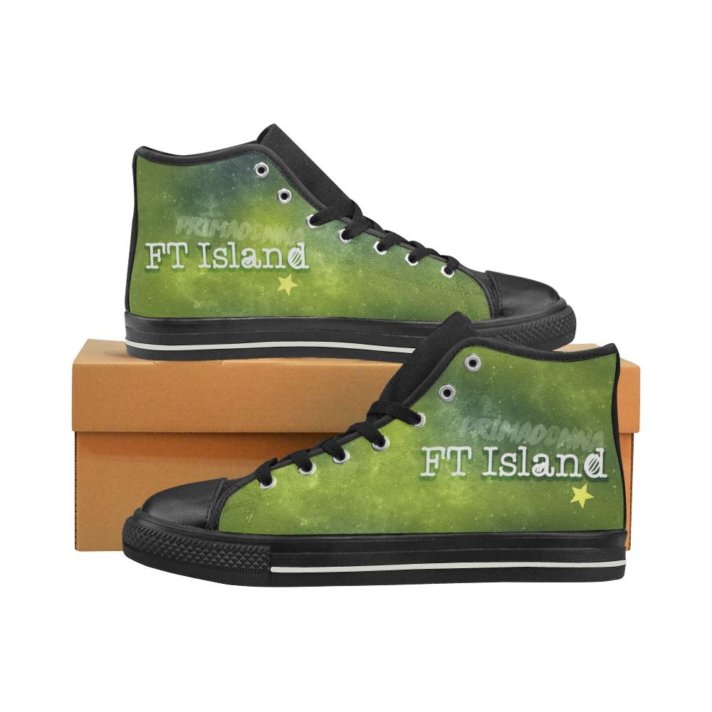 "FT ISLAND ""NEBULA"" HIGH-TOP BLACK Canvas Shoes - MYKPOPMART"