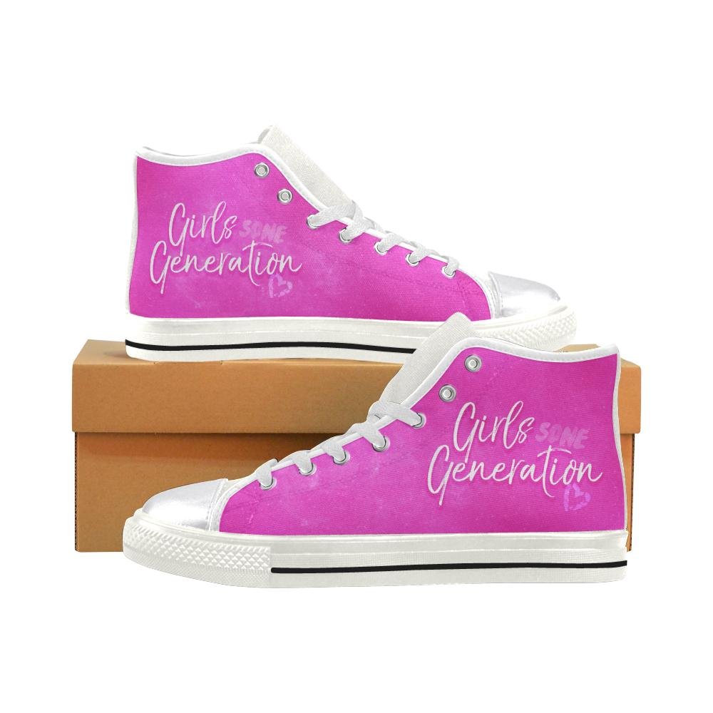 "GIRLS' GENERATION ""NEBULA"" HIGH-TOP WHITE Canvas Shoes - MYKPOPMART"