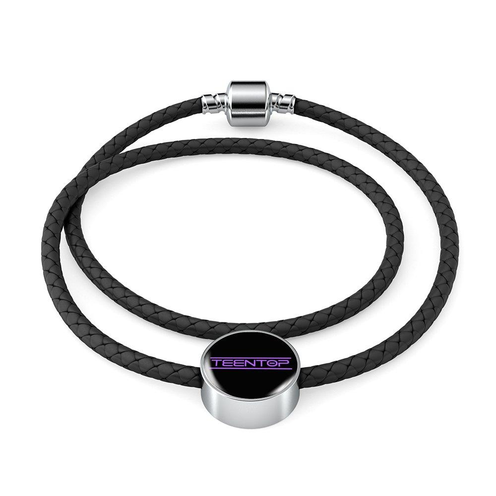 TEEN TOP Woven Leather Bracelet & Charm - MYKPOPMART