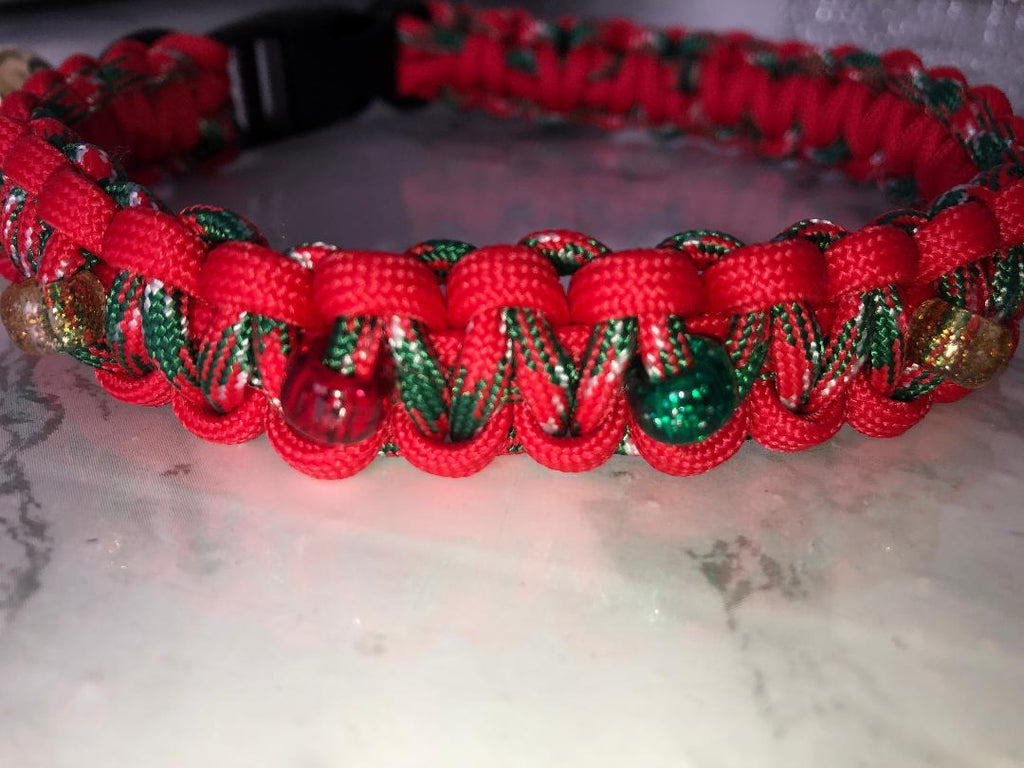 Christmas Paracord Dog Collar With Beads And Jingle Bell Handmade O K9 Products