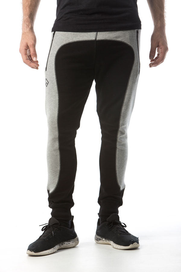 FORERUNNER - SLIM FIT TRACK PANTS - BLACK / GREY