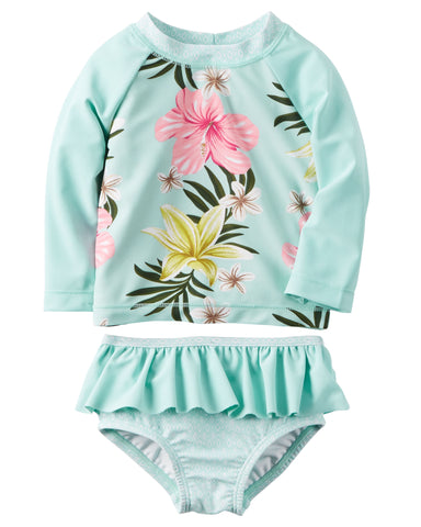 Carter's Baby Girls' Floral Rashguard Swimsuit