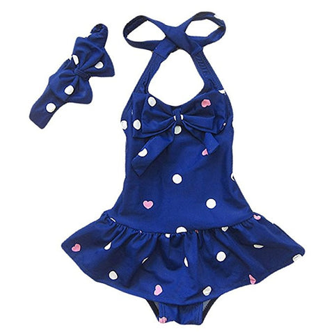 Jastore® Baby Girls Swimwear One Piece Swimsuits Beach Wear with Headband