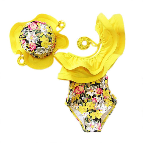 Baby Kids Girl One Piece Swimsuit Floral Ruffle Swimwear Bathing Suits With Hat
