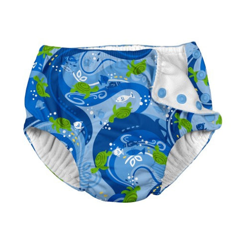 i play. Toddler Boys' Snap Reusable Absorbent Swim Diaper, Blue Turtle Batik, 3T