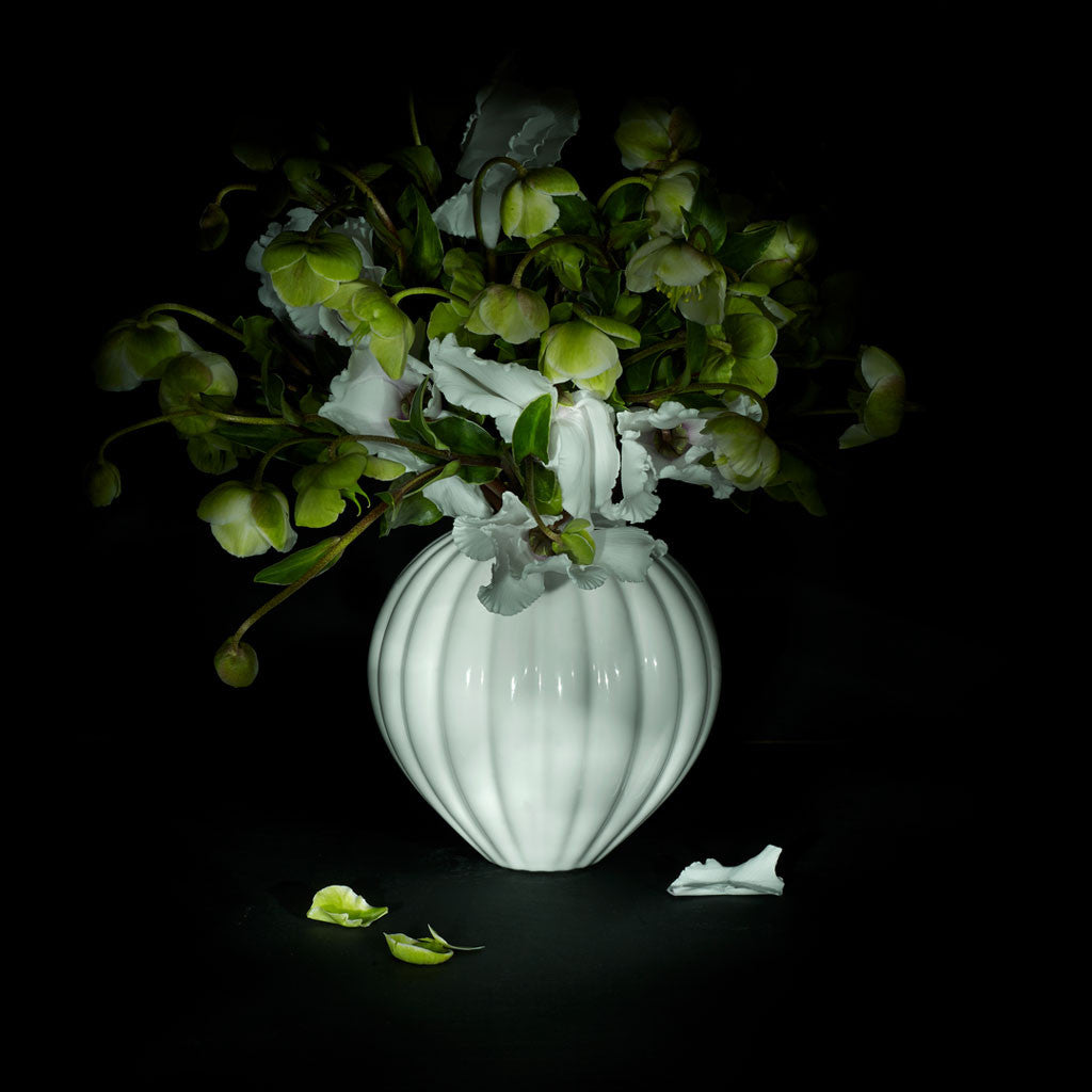 The Montgolfiere Vase with white flowers