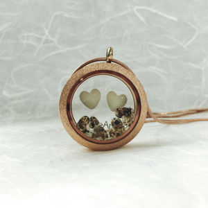 DOUBLE HEARTS AND NAME GLASS LOCKET