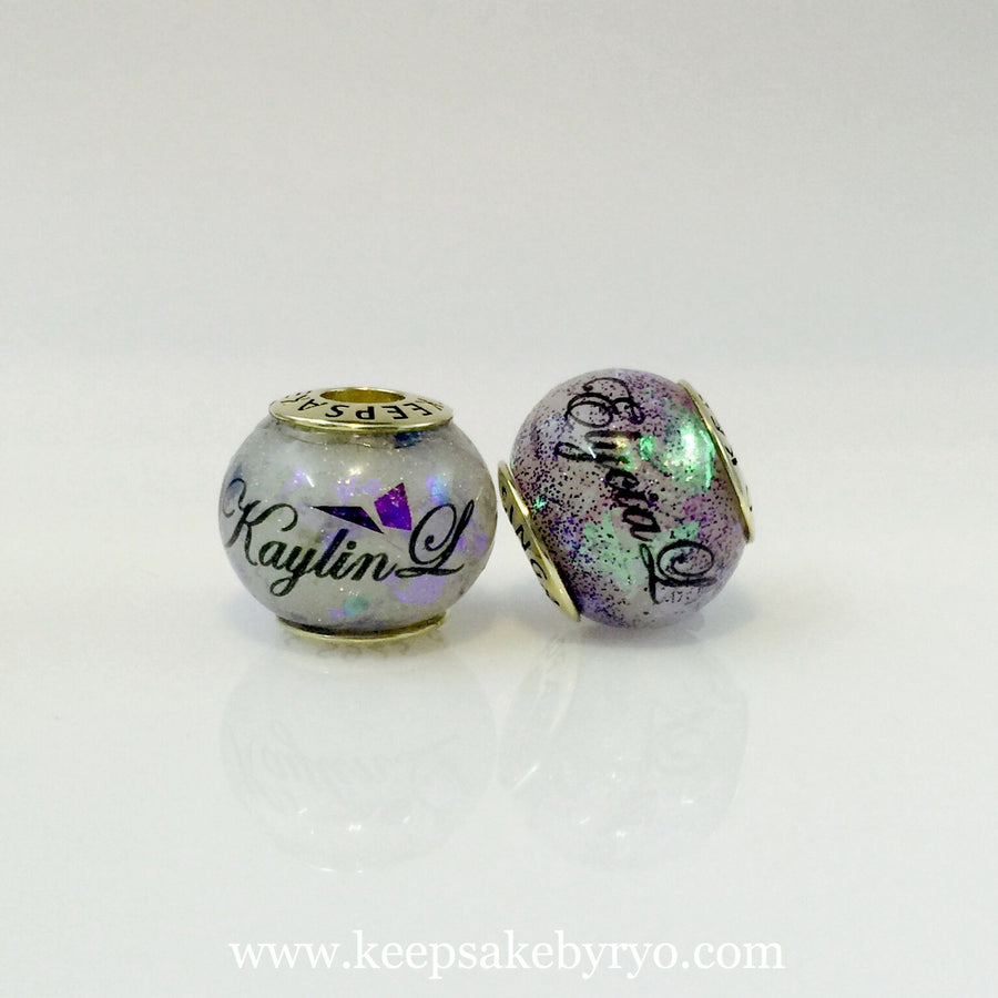 BREASTMILK EUROPEAN CHARM WITH HOLOGRAPHIC FLAKES AND SHIMMERS