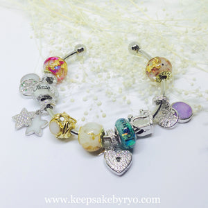 SPARKLING HEART LOCKET KEY DANGLING CHARM