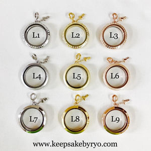 GLASS LOCKET WITH FLOATING BREASTMILK CHARMS