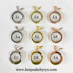 CURSIVE INITIAL TRIPLE INCLUSION HEART GLASS LOCKET