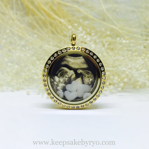 photo glass locket with floating breastmilk jewels