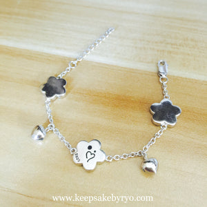 FIVE LEAF CLOVER BABY ANKLET WITH HEART SHAPED BELLS